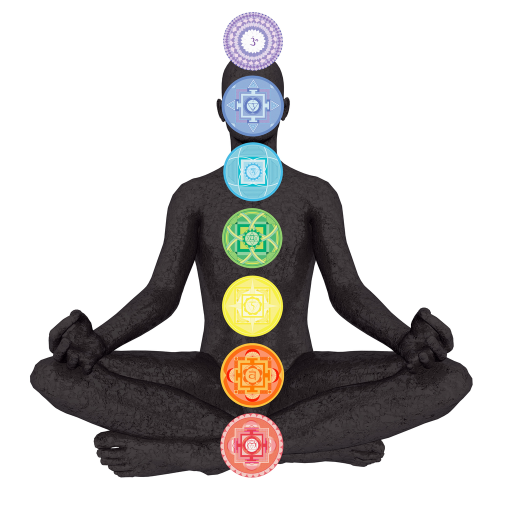 Seven chakra symbols column on black human being isolated in white background - 3D render
