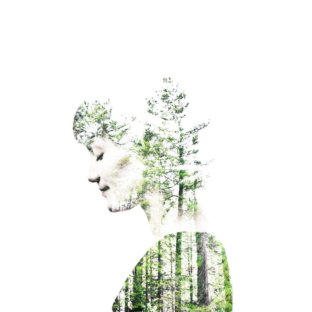 Conceptual collage of a woman inhabited by nature, in complete harmony with her environment. The silhouette is filled with successive layers of trees. She's looking down, meditating.